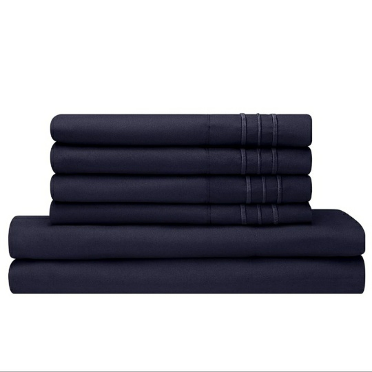 Full Size Bed Sheets Set, 6PC, Navy