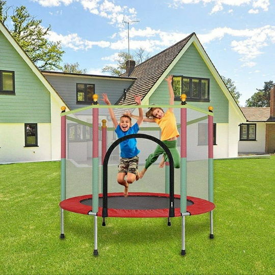 5Ft Mini Trampoline w/ 35.4″ Heavy Duty Metal Frame, Trampoline Jumping Mat & Safety Enclosure Net