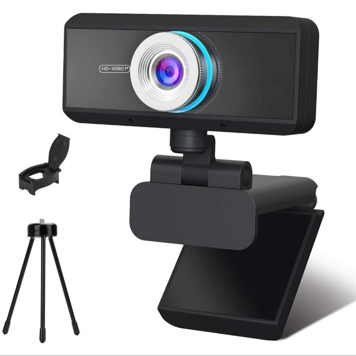 KKUYI 1080P HD USB Webcam w/ Microphone for Desktop – Web w/ Privacy Cover and Tripod