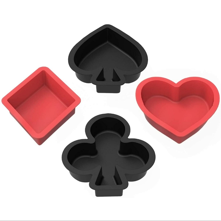 SILIVO Non-stick Silicone Muffin and Cupcake Pans – Set of 4 – Poker-Shapes