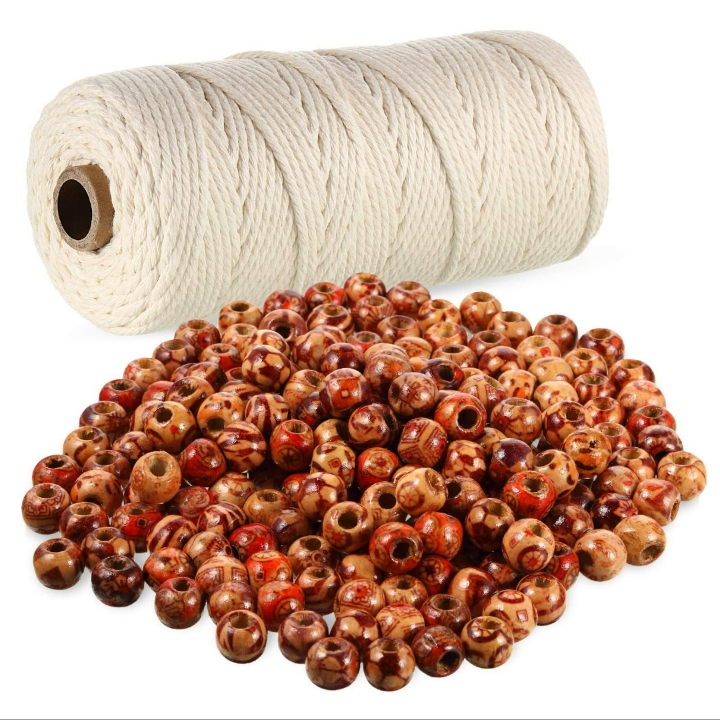 Cotton Macrame Rope Natural Cotton Cord (3mm x 110 Yards) w/ 200 Pieces 10 mm Wooden Painted Beads