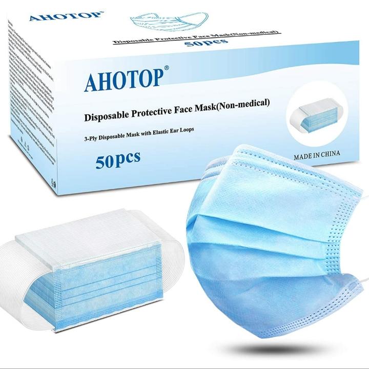 AHOTOP Disposable, Breathable Face Masks, 3-Ply Facial w/ Earloop (50 pcs)