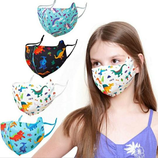 Kids Adjustable, Reusable Cotton Face Masks (Set of 4)