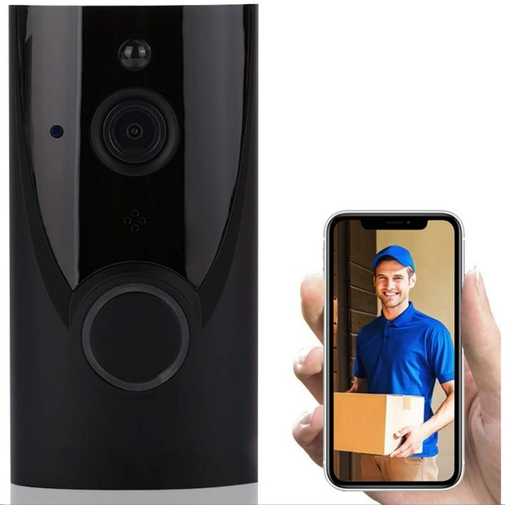 Doorbell Security Camera w/ Ringtone, WiFi, IP65 Waterproof, 720P HD, Live Video, Two-Way Conversation & PIR Motion Detection (160° Wide Angle, Black)