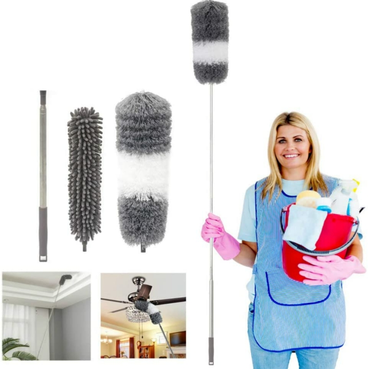 Microfiber Duster w/ 1 Stainless Steel Pole, 2 Cleaning Heads, Ceiling Fan Duster & Bendable Washable Head
