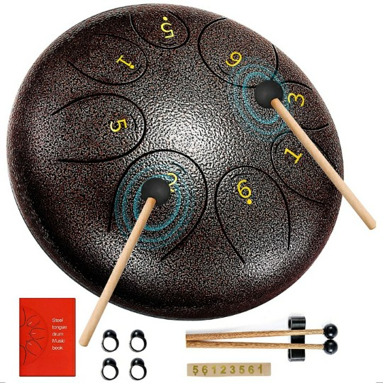 Steel Tongue Drum, 6 Inches, 8 Notes, w/ Padded Travel Bag & Drum Mallets