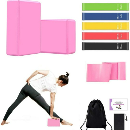 MIZIKUSON Yoga Blocks 2 Pack w/ Strap, 5 Workout Resistance Bands, 1 Elastic Long Yoga Straps, Gym Bag & Yoga Instruction Book