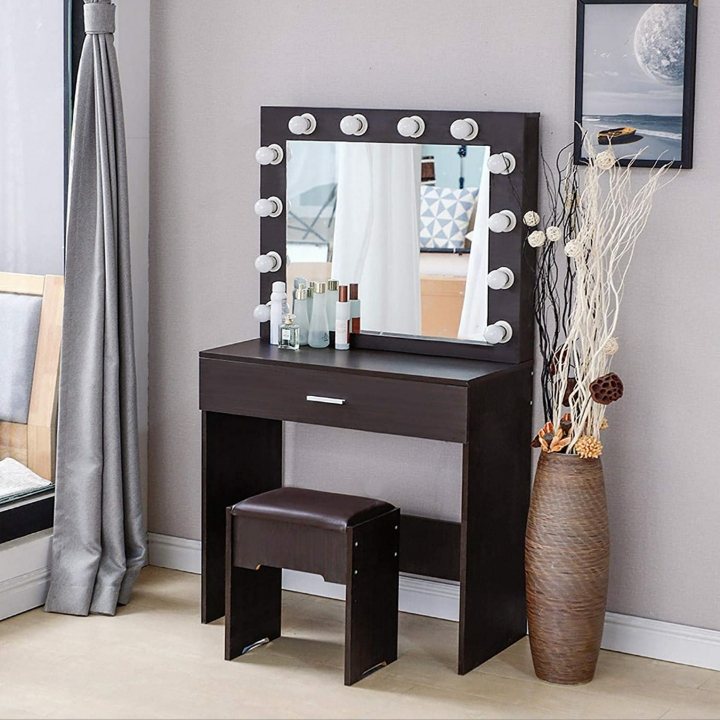 Vanity Table Set w/ 12 Light Bulbs, Makeup Table, Large Drawer & Cushioned Stool