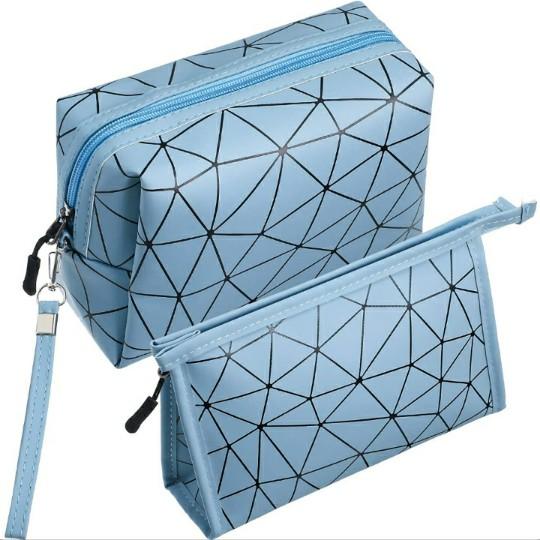 (2 Pieces) Geometric, PU Leather Makeup Bag Set