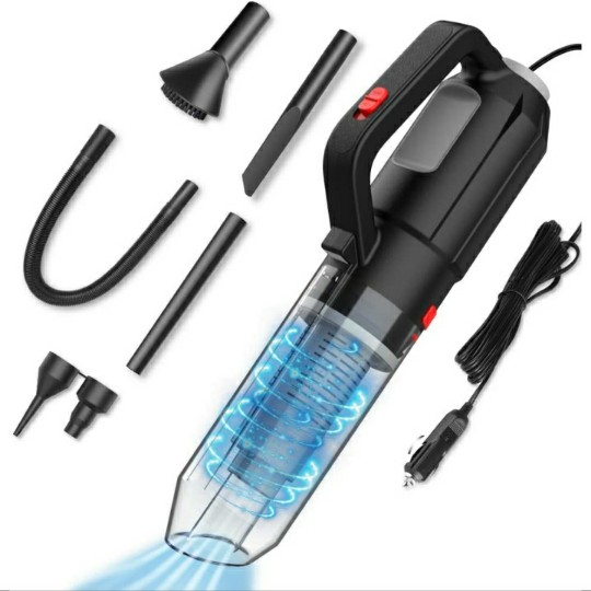 FRUITEAM Portable Vacuum Cleaner, 6-in-1 Set, w/ Inflation & Blowing Function, 110W 12V, 16.4 Ft Cord