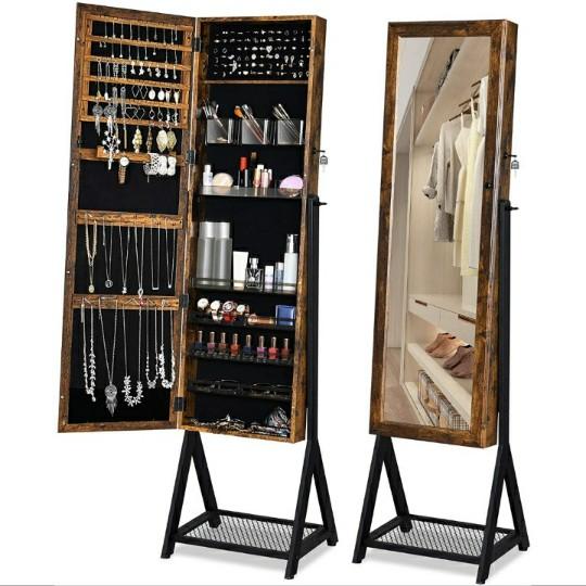 YITAHOME Free Standing Lockable Organizer Cabinet w/ Metal Mesh Shelf