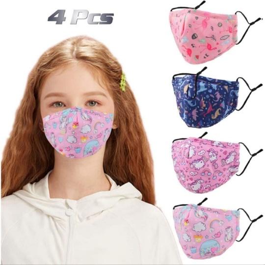 Washable, Adjustable Kids Face Mask (4Pcs)