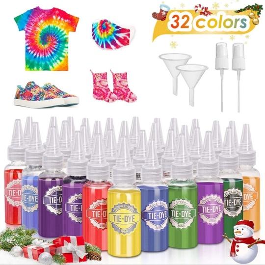 JOYXEON Tie Dye Kit, (32 Colors) w/ Spray Nozzles, Rubber Bands, Gloves, Apron & Table Covers